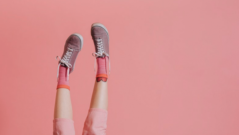 shoes in pink background